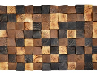 Wood wall art Chess Board, Reclaimed Wood Art, 3 d wall art decor, Wood mosaic, Wood sculpture, Abstract painting, Geometric wall art