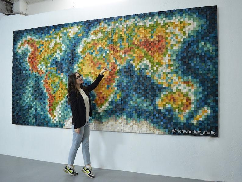 World Map  Extra large unique wood wall art  6.5' x image 0