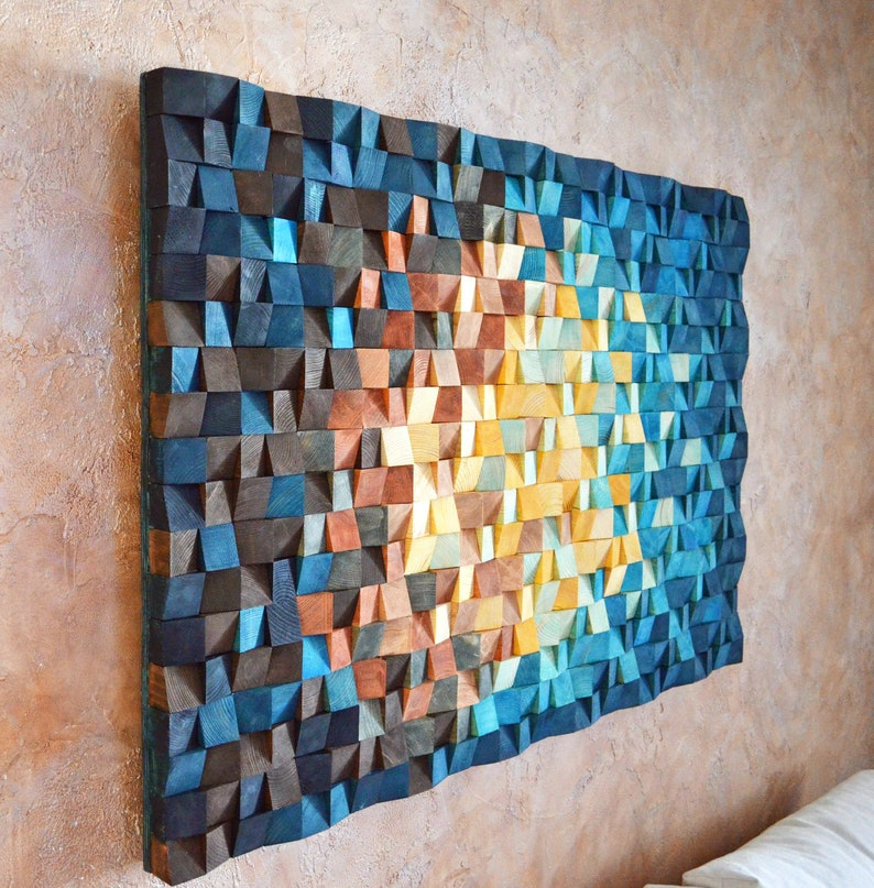 The Universe Wood Wall Art In Blue Navy Blue Yellow Orange Brown Wood Mosaic Sculpture Abstract Painting On Wood 3 D Wall Art Decor