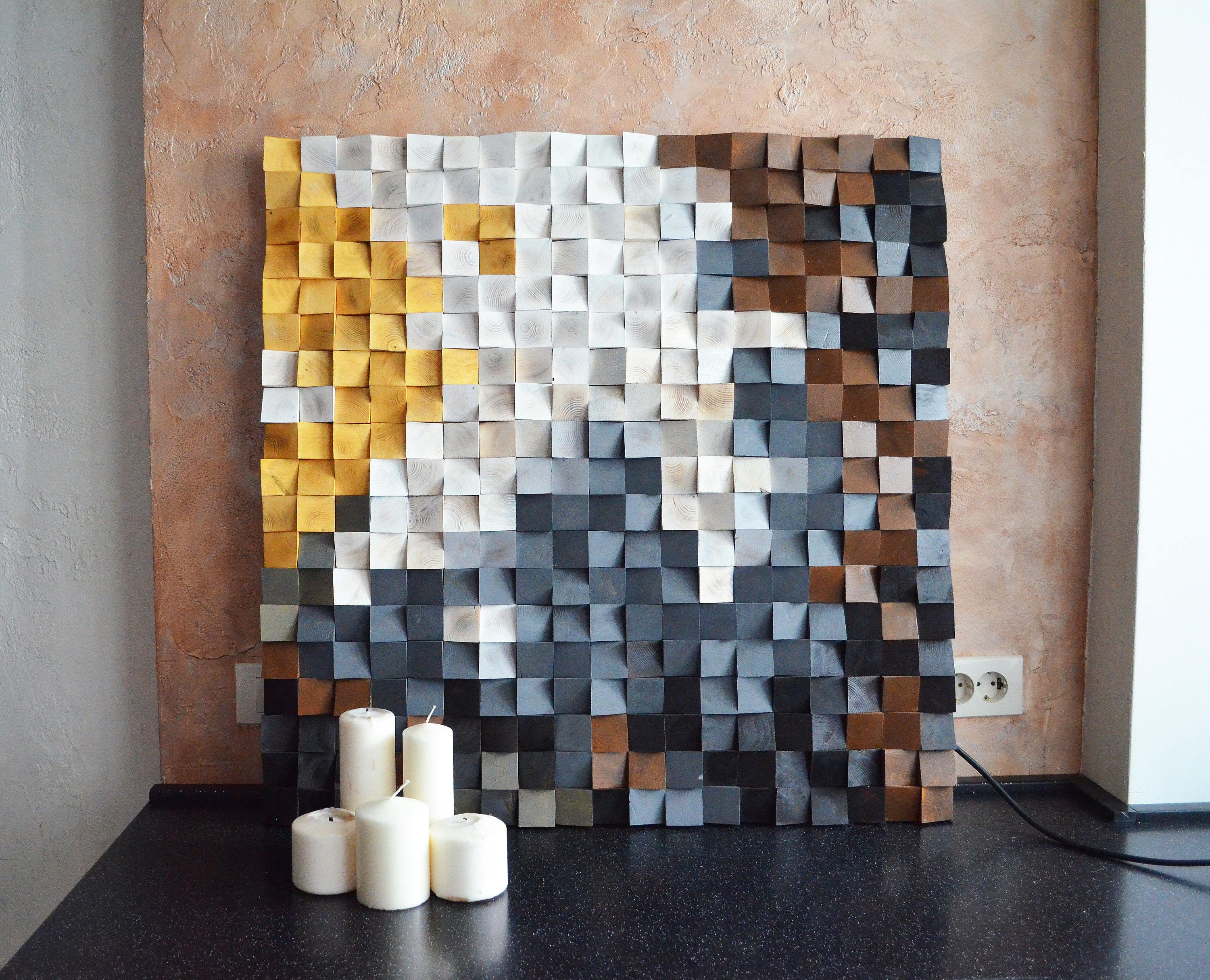 Wood Wall Art Morning In The Snowy Mountains Reclaimed Wood Art Mosaic Wood Art Geometric Wall Art Wooden Art Wooden Panel