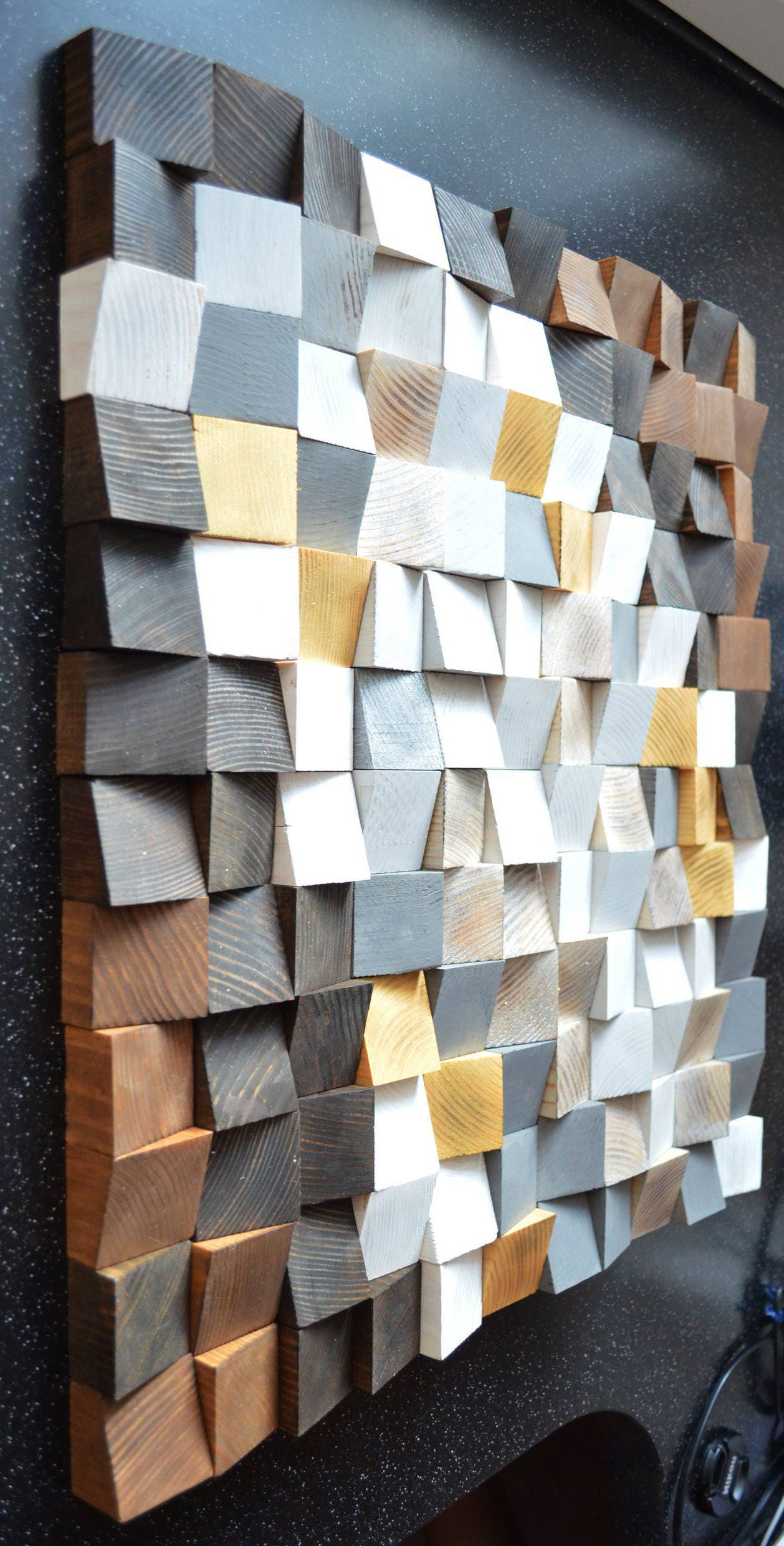 3d Wall Art For Contemporary Homes: Geometric Wood Art Wood Art 3D Wall Art Abstract Painting