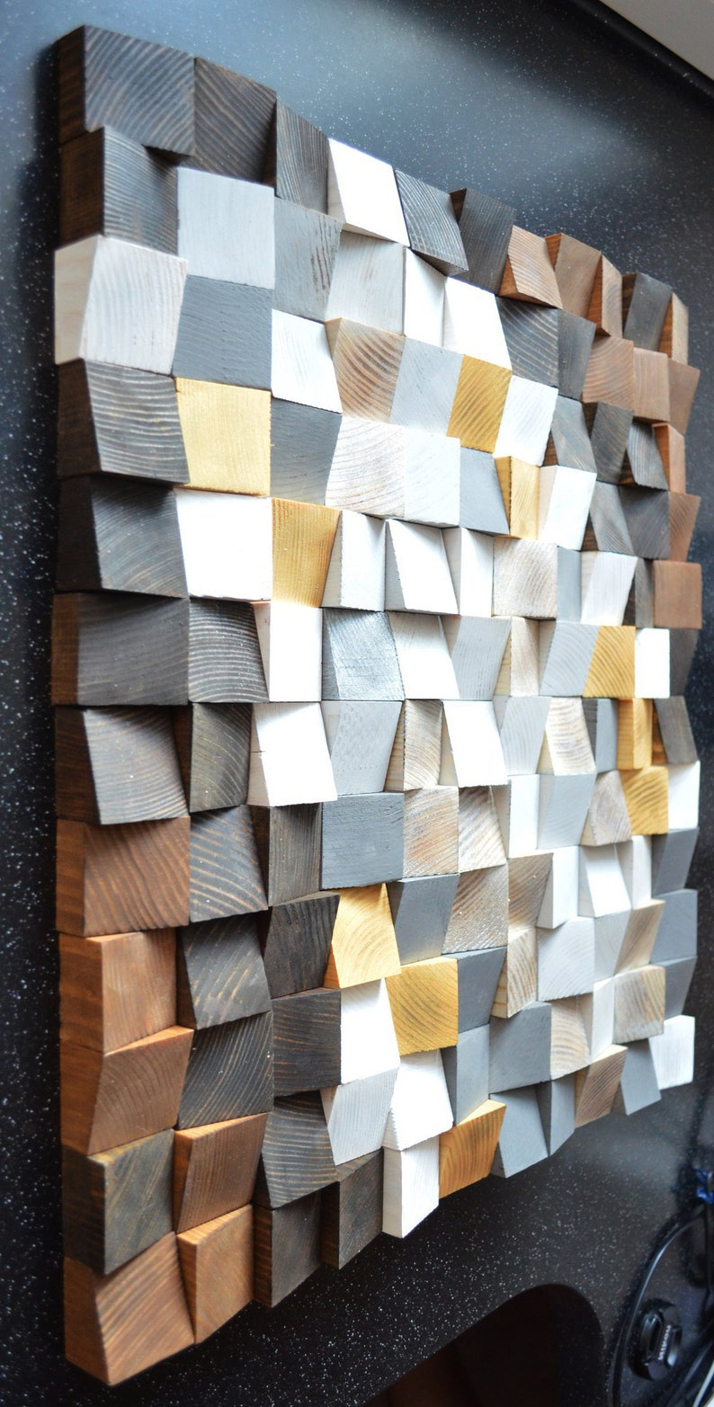 Geometric Wood Wall Art Reclaimed Wood Art Mosaic Wood Art Geometric Wall Art Rustic Wood Art Wooden Art Wooden Panel