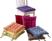Tufted Chair Cushions, Seat Pads with Ties Square, Thick Patio Wicker Kitchen Dining Indoor Office Rocking Plush Velvet Pillows, Red Blue