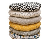 Round Chair Cushions Tufted, Bistro Patio Wicker Indoor Kitchen Dining Seat Pads, Rattan Rocking Circle Chair Pillows Linen Thick