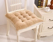 Wool Tufted Chair Cushions with Ties, Square Dining Kitchen Seat Pad, Patio Bistro Wicker Rocking Office Thick Warm Plush Chair Pillows, 16 quot