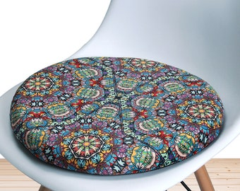 Chair Cushion Memory Foam Round Vintage Indoor Kitchen Dining Living Room Decor Seat Pads Outdoor Patio Office Circle Stool Chair Pad 16