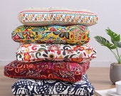 Tufted Chair Cushions Square, Kitchen Dining Seat Pads Indoor, Outdoor Wicker Patio Rocking Chair Pillow, Printed Floral Cotton Canvas Thick