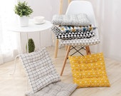 Dine Chair Cushions with Ties, Wicker Kitchen Dining Tufted Seat Pads, Indoor Office Patio Rocking Chair Pillows Linen Thick, Square Round