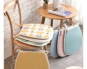 Chair Cushions with Ties, Dine Chair Pad, Kitchen Dining Room Seat Pad, Patio Wicker Farmhouse, Thin Linen Gripper Replacement Trapezoid