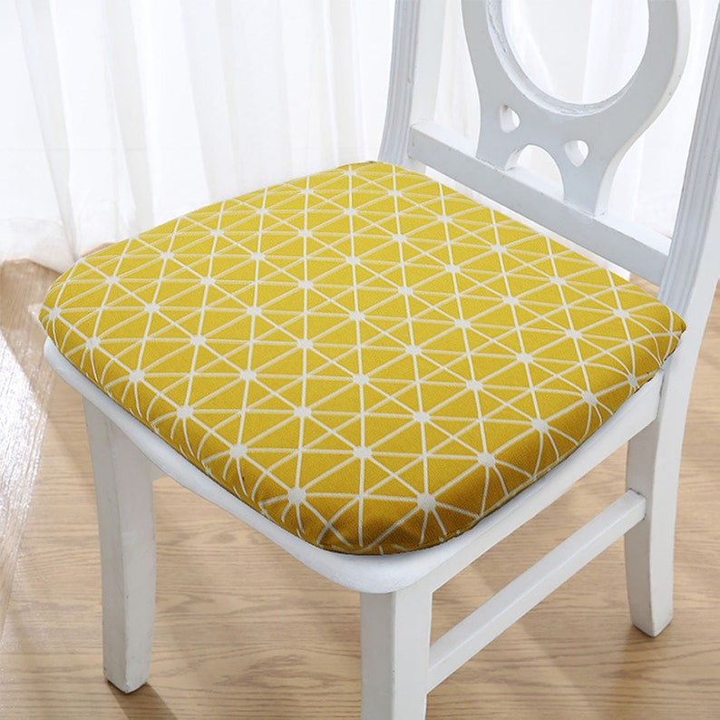 Memory Foam Dining Chair Cushion With Ties Indoor Kitchen Linen Chair Pad Washable Removable Replacement Breathable Non Skid Seat Pads