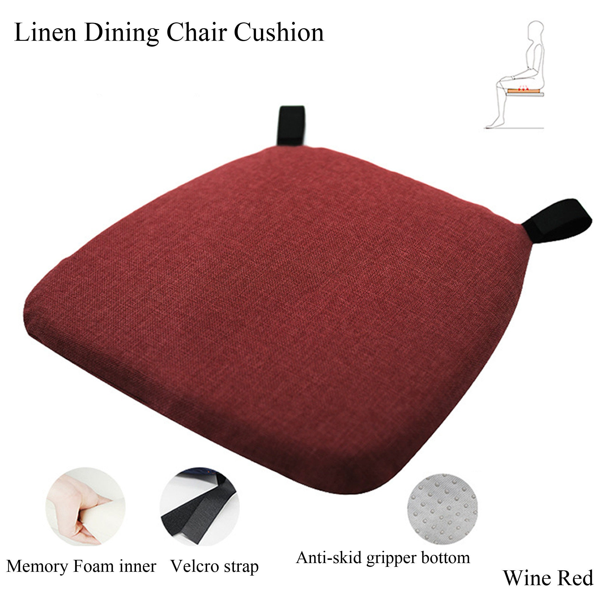 Dining Chair Cushions Gripper Memory, Memory Foam For Dining Room Chairs