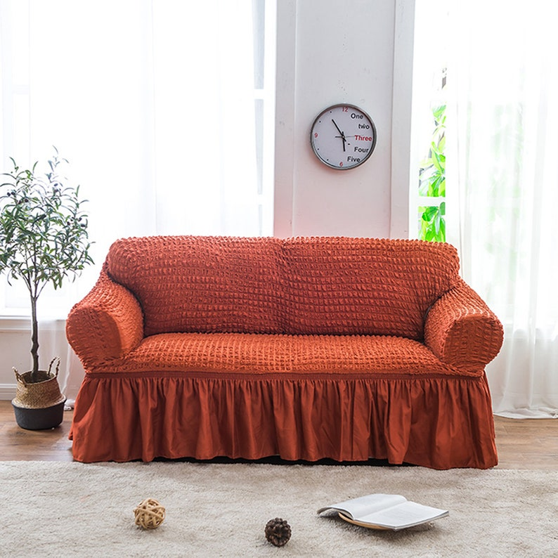 Fabulous Stretch Couch Cover Spandex Fitted Sofa Slipcover Loveseat Slip Cover L Shaped Sectional Recliner 2 3 Seater Armchair Protector Ruffled Pdpeps Interior Chair Design Pdpepsorg
