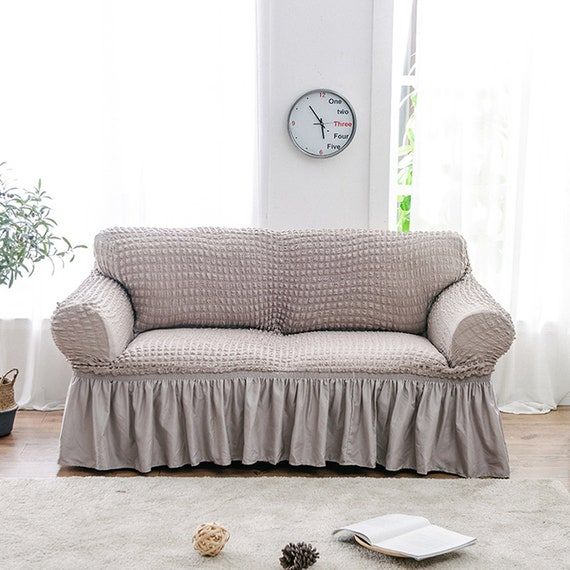 Sofa Slipcover, Couch Cover, Loveseat Slip Cover Sectional Sofa Protector,  Stretch L-shaped Armchair 2 3 Seat, Ruffled Cover, Beige Gray