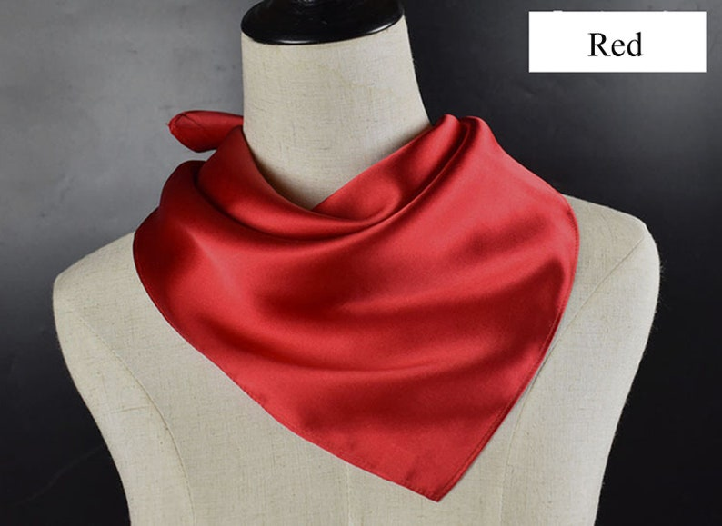 9ffd64623 Silk Bandana Square Neck Scarves Soft Plain Solid Color | Etsy