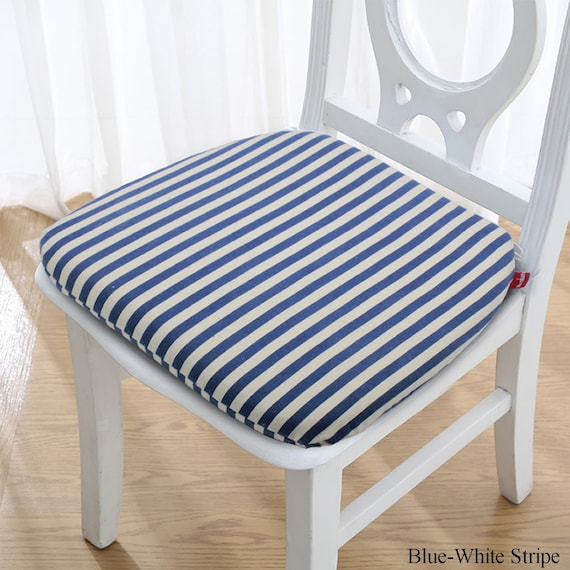 Dining Chair Cushions, Memory Foam Seat Pad, Indoor Kitchen Dorm Removable  Washable, Non-Skid Replacement Linen Chair Pad with Tie, Stripe