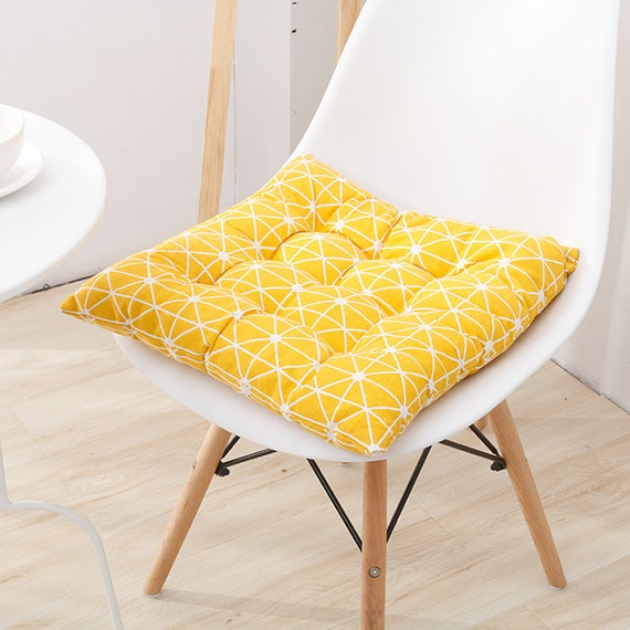 Tufted Chair Cushions with Ties, Wicker Kitchen Dining Seat Pads, Indoor  Office Patio Rocking Chair Pillows Linen Thick, Square Round