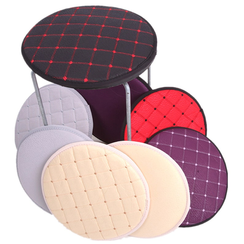 Round Stool Chair Pads With Ties Circle Bistro Chair Cushion Indoor Kitchen Dining Small Seat Pad Thin Square Gray Red Navy Blue 16