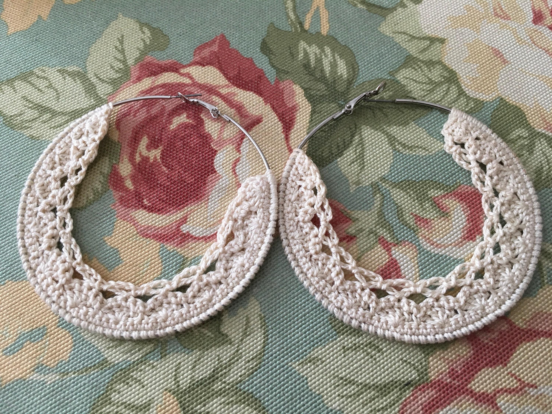 Crochet Hoop Earrings Crochet Braids Jewelry Crochet Etsy