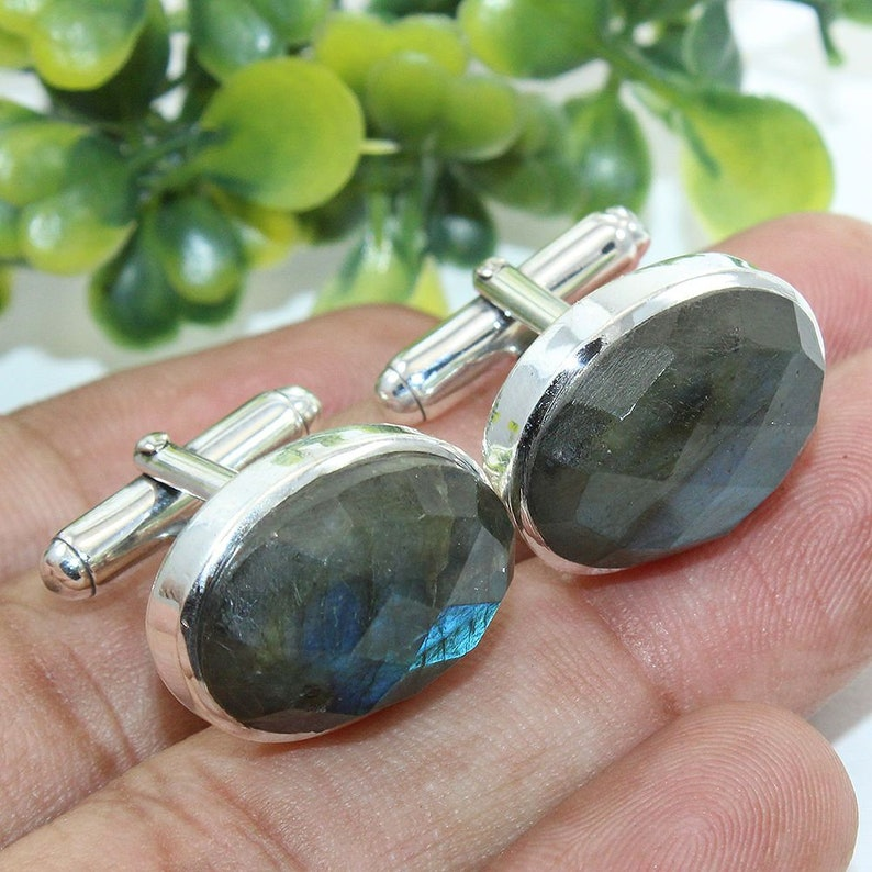 Sterling Silver Cuff links Husband Gift Luxurious Gemstone Cufflink Oval Stone Gifts for him easter gift for reputable /& estimable gentlemen