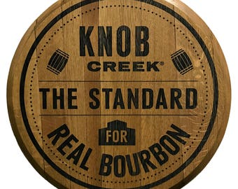 Laser Engraved Knob Creek Bourbon Barrel Head - Real Reclaimed and Refinished Barrel Head with Beautiful Engraving