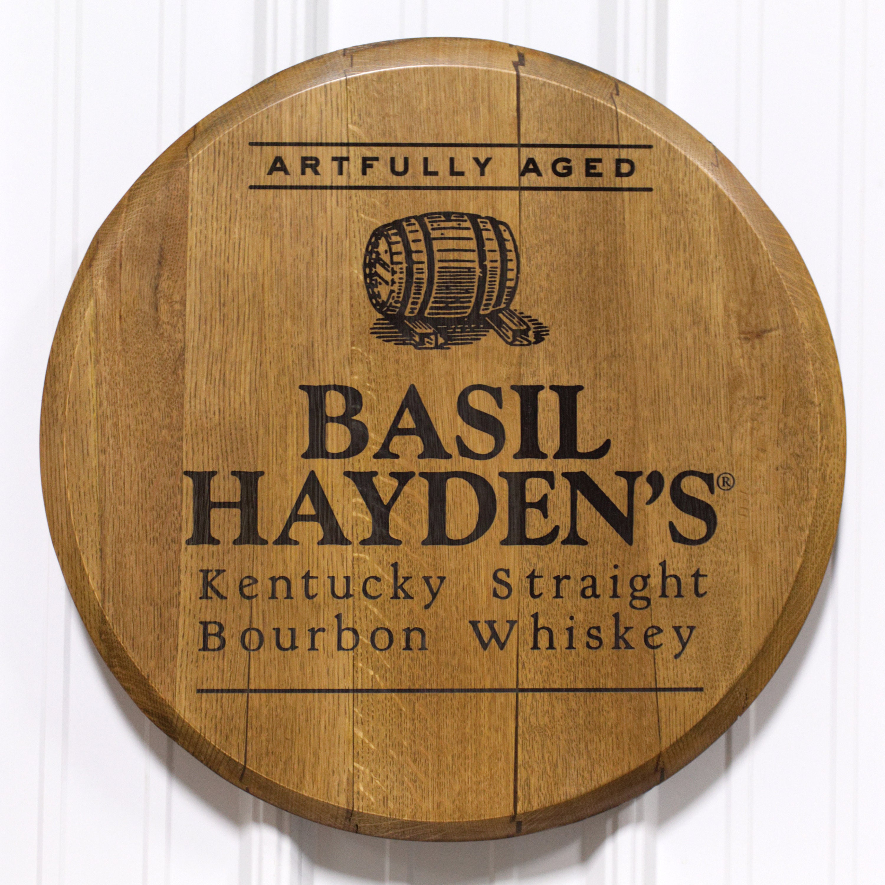 Real Reclaimed and Refinished Barrel Head with Beautiful Basil Haydens Bourbon Whiskey Engraving Laser Engraved Basil Hayden/'s Barrel Head