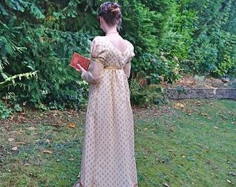 4026c6e29c2c Long sleeved Regency day dress // Jane Austen dress // long sleeves //  Regency walking dress // MADE TO ORDER