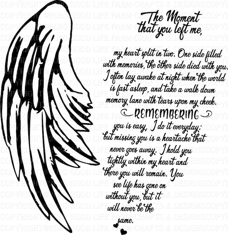 The Moment you left me-Poem-Memorial SVG png jpeg esp | Etsy