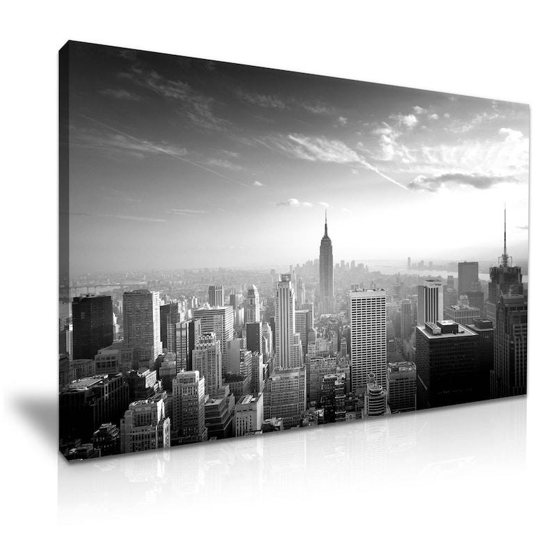New York City Skyline Canvas Wall Art Picture Print 76x50cm Sepia