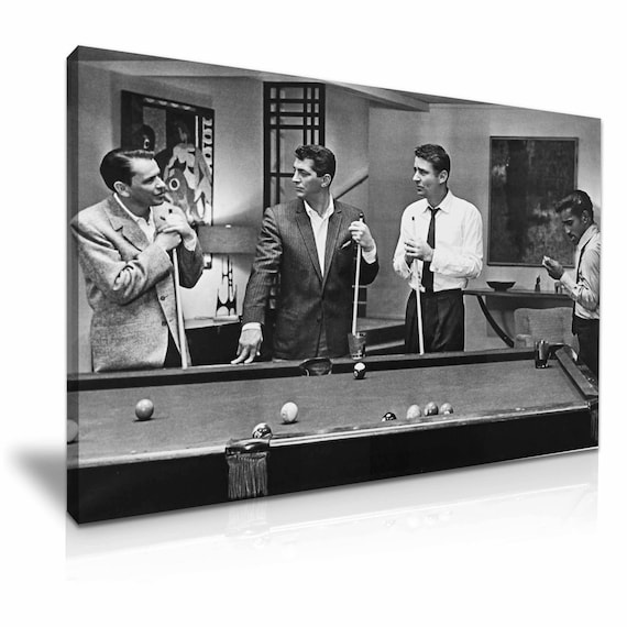 The Rat Pack Playing Pool Movie Stretched Canvas Print 76 Cm X 50 Cm