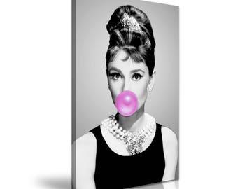 Audrey Hepburn Funky Canvas Wall Art Picture Print 50cmx76cm
