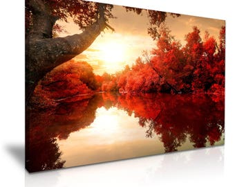 AUTUMN FOREST Red Leaves River Canvas Wall Art Picture Print 76cmx50cm