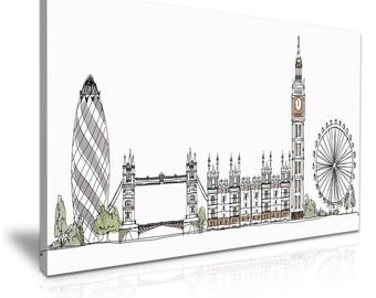 LONDON Skyline Abstract Canvas Wall Art Picture Print 76cmx50cm