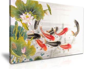 Fish Lotus Vintage Abstract Canvas Wall Art Picture Print 76cmx50cm