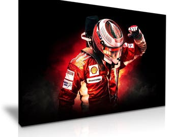 Kimi Räikkönen The Ice Man Ferrari F1 Canvas Wall Art Picture Print 76cmx50cm