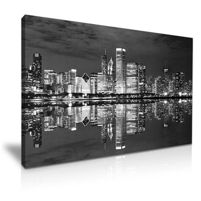 New York City Manhattan At Night Skyline Canvas Wall Art Picture Print 60x30cm