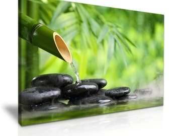 ZEN Bamboo Stones Water Spa Relax Abstract Canvas Wall Art Picture Print 76cmx50cm