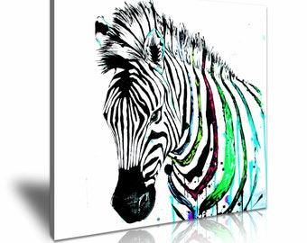 Zebra Pop Art Funky Canvas Wall Art Picture Print 50cmx50cm