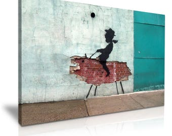 BANKSY Cowboy Graffiti Canvas Wall Art Picture Print 76cmx50cm