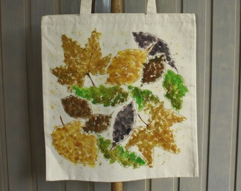 Hand Painted Cotton Canvas Tote Bag - Leaf Design