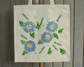 Hand Painted Cotton Canvas Tote Bag - Hibiscus Design
