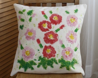 Handmade Embroidered and Painted Cushion Cover and Duck Feather Inner - Hollyhock Design