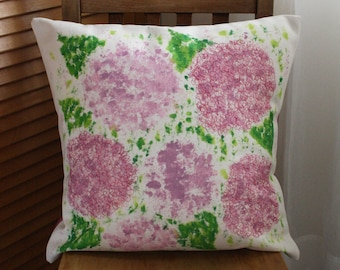 Handmade Embroidered and Painted Cushion Cover and Duck Feather Inner - Hydrangea Design