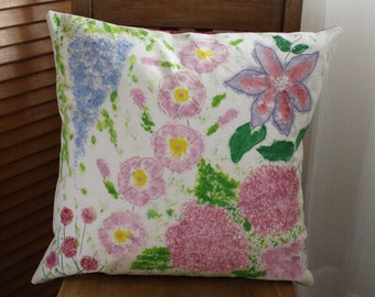 Handmade Embroidered and Painted Cushion Cover and Duck Feather Inner - Floral Garden Design