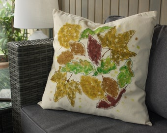 Hand Embroidered and Painted Cushion Cover and Duck Feather Inner - Leaf Design
