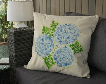 Hand Embroidered and Painted Cushion Cover and Duck Feather Inner - Hydrangea Design