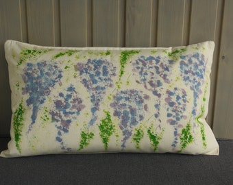 Hand Embroidered and Painted Cushion Cover and Duck Feather Inner - Wisteria Design