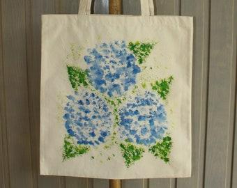 Hand Painted Cotton Canvas Tote Bag - Hydrangea Design