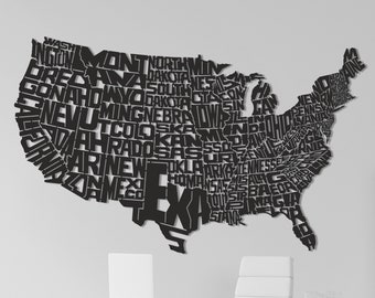 Metal Wall Art United States Detailed Map Design/States Silhouettes Map/US Metal Map/Metal Wall Deco/Unique Gift/Free Shipping/Accessories
