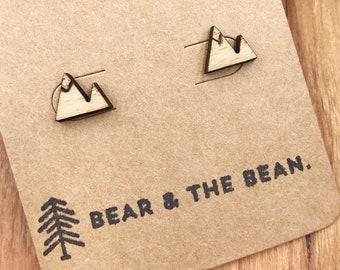 Mountain Wood Earrings / Minimalist Earring Studs