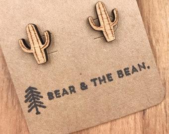 Cactus Wood Earrings / Minimalist Earring Studs